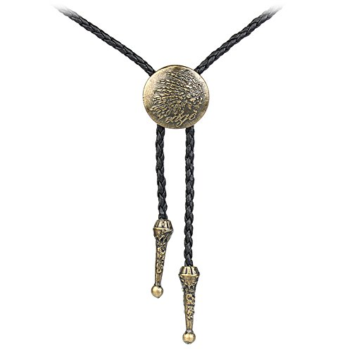 Jenia Handmade Black Bolo Tie Necktie Casual Leather Pendant Necklace For Men Women - Designer Gold Bolo Tie