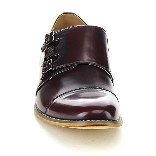 UV SIGNATURE EA27 Mens Chic Cap Toe Monk Strap Dress Shoes Run Half Size Big Burgundy MUUnMipIy