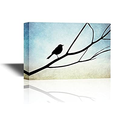 Canvas Wall Art - A Bird Standing on a Tree Branch - Gallery Wrap Modern Home Art | Ready to Hang - 32x48 inches