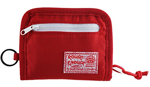 Rough Enough Prime Cordura Soft Nylon Full Zippered Sports Outdoor Short Basics Fashion Fancy Small Portable Bi-fold Secure Coin Pouch Wallet Purse Case Credit Card Holder Organizer with Key Ring