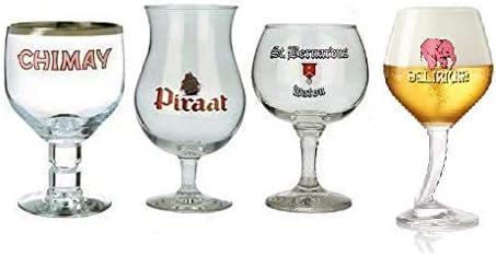 Vaso de cerveza belga cáliz 4 piezas Sampler: Amazon.es: Hogar