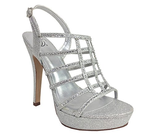 Delicious Field! Women's Dazzling Rhinestone Embellished Cage High Heel Stiletto Platform Sandals, Silver Shimmer 9 M US (Platform High Cage Heel)