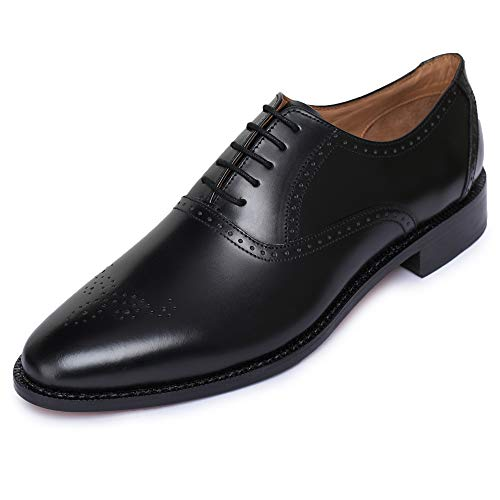 Lethato Handmade Brogue Oxford Goodyear Welted Genuine Leather Lace up Dress Shoes- Black