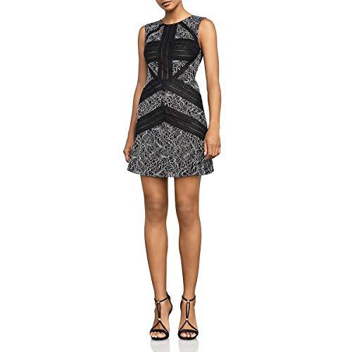 BCBG Womens Tasha Lace Party Cocktail Dress B/W 2 Black/White ()