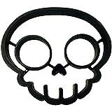 Cherion Silicone Egg Mold Ring,Black Skull Shaped Egg Ring, Skull Mold Set of 2
