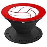 Volleyball Sports Gift Team Coach Player Red White - PopSockets Grip and Stand for Phones and Tablets