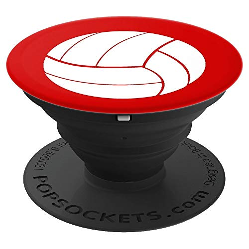 Volleyball Sports Gift Team Coach Player Red White - PopSockets Grip and Stand for Phones and Tablets by By Leijah