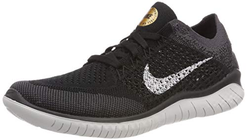 (Nike Women's WMNS Free RN Flyknit 2018, Black/VAST Grey-Metallic Gold, 7.5 US)