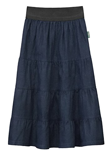 Skirt Long Denim Girls (Baby'O Girl's Lightweight 4 Tiered Denim Below the Knee Skirt - Blue - M)