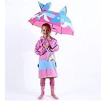 Lslsd Kidorable Shark Umbrella for Boys with Fun Hammerhead Handle, Pop-Up Fin, Ocean Trim
