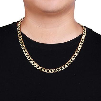 e749b9397baaa Amazon.com: Chunky 18K Gold Plated Men's Chain Necklace 24 inch Long ...