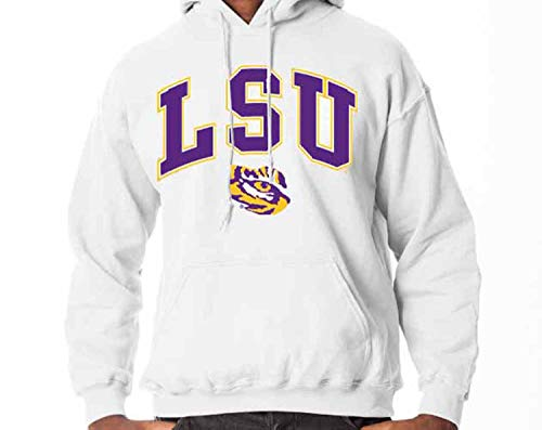 38530e5f Campus Colors LSU Tigers Arch & Logo Gameday Hooded Sweatshirt - White,  Large