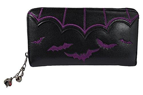 Logo Zip Around Wallet (Banned Gothic Witch Gotham Knight Bat Attack Bat Logo Zip Around Wallet (Purple))