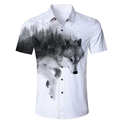 (Fanient Mens Hawaiian Casual 3D Wolf Print Button Down Tee Shirts Short Sleeve Aloha Shirts XL)