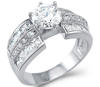 size 4 large solid 14k white gold solitaire cz cubic zirconia engagement ring 3 - Cz Wedding Rings