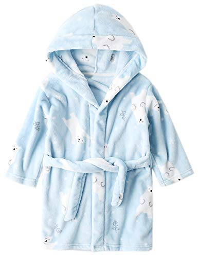 (Kids' Robe, Cartoon Bear Printed Warm Flannel Fleece Bathrobe Robe for Toddler & Little Boys Girls, Blue Polar Bear, US 4/Height(39.4