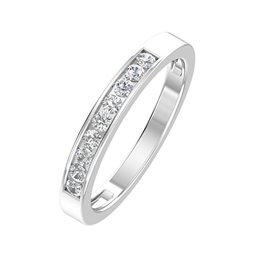 1/4ctw Diamond Channel Wedding Band in 10k White Gold