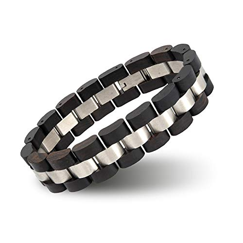 BOBO BIRD Mens Wooden Bracelet Stylish Wood & Stainless Steel Combined Wooden Bangle Jewelry Great Gift for Men (S05-1) from BOBO BIRD