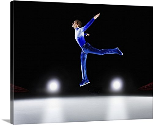 Canvas On Demand Premium Thick-Wrap Canvas Wall Art Print entitled Man performing, Ice skating jump