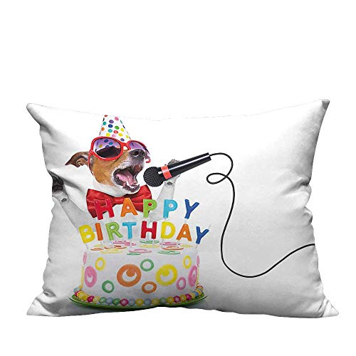 YouXianHome Lovely Cushion Covers Kids Musician Singer Dog and P y Cake Image Multicolor Resists Stains(Double-Sided Printing) 31.5x31.5 inch -
