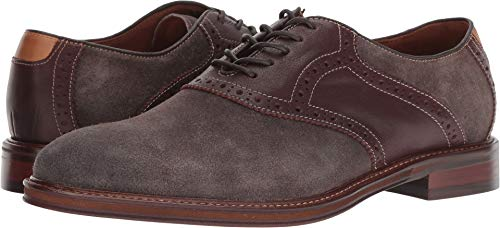 - Johnston & Murphy Men's Warner Saddle Dark Gray Water-Resistant Suede/Mahogany Full Grain 11 M US