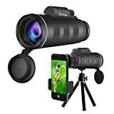 Monocular Telescope High Power HD Dual Focus Scope Waterproof with Multi-Coated Zoom Lens Low Nigh Vision for Hunting Camping Concerts with Phone Clip and Tripod for Cell Phone