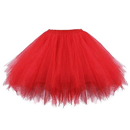 Ballet Tutu Skirt for Girls Kids Baby Dance Fancy Costume Tulle Bubble Dress 1950s Vintage Tutu Petticoat (2-8 Years, Red)