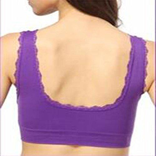 Soutien-gorge de sport pas d'anneau en acier section mince pour augmenter le code soutiens-gorge de sport féminin sports S purple