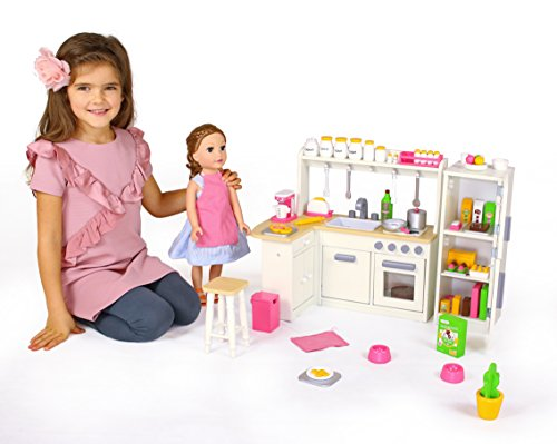 18 inch doll furniture kitchen set w refrigerator and accessories playtime by eimmie. Black Bedroom Furniture Sets. Home Design Ideas
