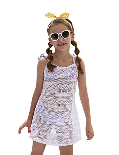 (LEINASEN Kids Girl's Beach Crochet Mesh Crossback Swim Cover Up Dress)