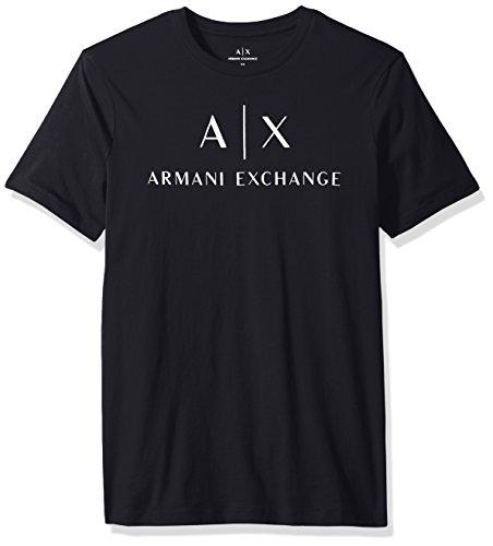 A|X Armani Exchange Men's AX Logo Crew Neck Short Sleeve Jersey T-Shirt, Navy, - Exchange Ax Armani