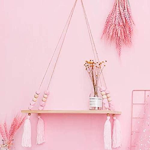 estanter/ía infantil Estanter/ía de pared n/órdica de madera colgante color rosa con cuerda y tabla para ni/ños Fablcrew estanter/ía de pared decorativa