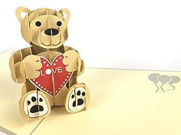 Tarjeta de cumpleaños oso de peluche Pop-up Tarjeta de cumpleaños deseos de cumpleaños