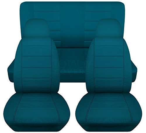 Solid Car Seat Covers w 2 Front Headrest Covers: Teal - Universal Fit - Full Set - Front Buckets & Rear Bench - Option for Airbag/Seat Belt/Armrest/Release/Lever/Split ()