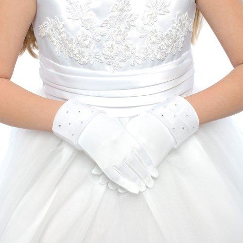 DressForLess Lovely Rhinestones Lace First Communion Girls Glove, White, 4-7, (TT-RSG-WT-4)