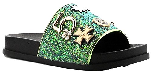 CAPE ROBBIN Moira-25 Women Slides Flip Flop Glitter Metal Pendant Ornament Sandal Green 7