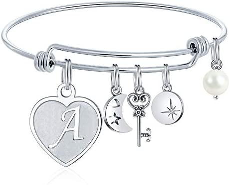 M MOOHAM Initial Charm Bracelets for Women Gifts - Engraved 26 Letters Initial Charms Bracelet Stainless Steel Bangle Bracelet Birthday Christmas Jewelry Gift for Women Teen Girls