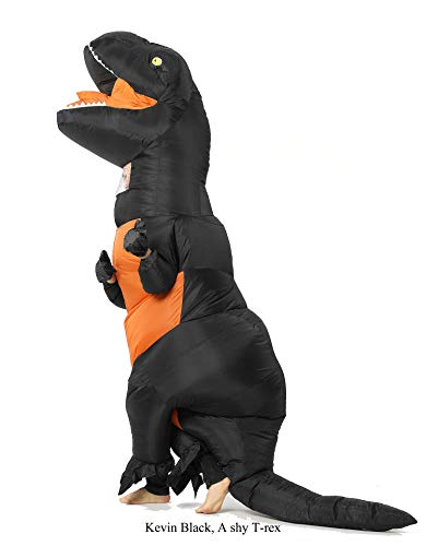 GOPRIME T Rex Inflatable Costume,Pick UP School Bus,Scare Dogs (Black Adult) -