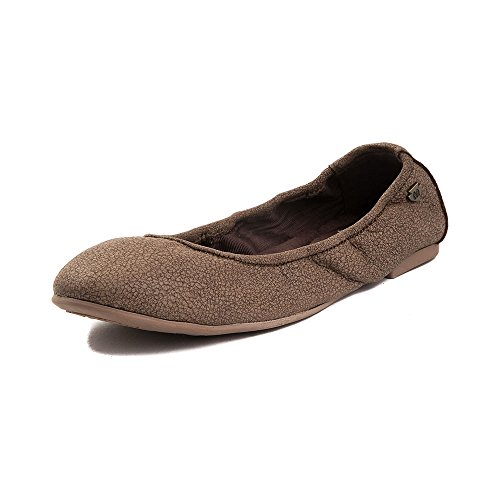 Minnetonka Women's Anna Ballerina Leather Ballet Flat, Distressed Chocolate, M 6 ()