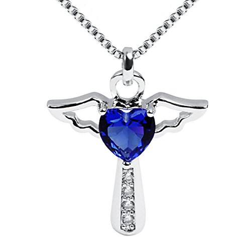 Ckysee Necklaces for Women Girls Cross Cubic Zirconia Angel Wing Birthstone Heart Charm Pendant Necklace September- Sapphire