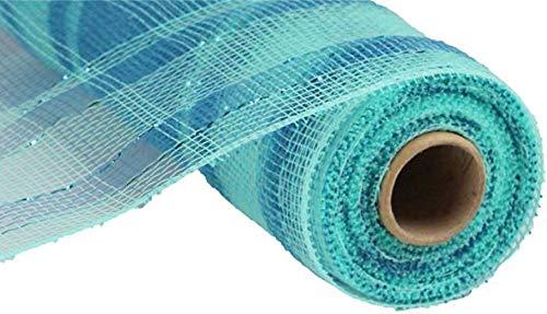 Plaid Metallic Deco Poly Mesh Ribbon - 10 inch x 30 feet (Aqua, Turquoise)