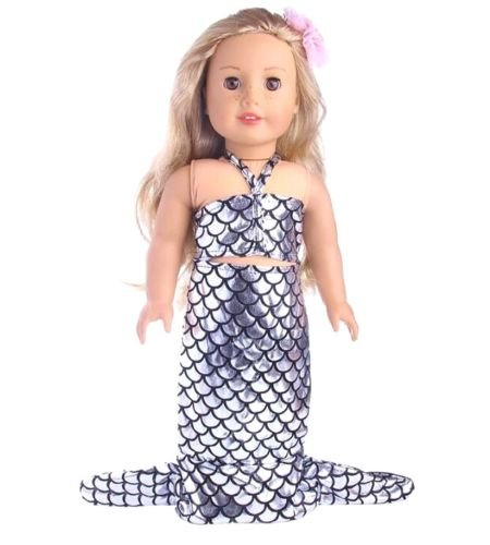 EatingBiting(R) Doll Mermaid Set Silvery Silver Skirt, Doll Clothing Clothes Outfit For 18