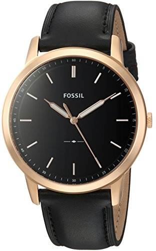 Fossil Men's 'The Minimalist 3H' Quartz Stainless Steel and Leather Casual Watch, Color:Black (Model: FS5376) by Fossil
