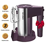 Electric Hand Mixer, Suliko Stainless Steel Mixer Electric 200W 5 Different Speed Settings and Turbo Button with Sturdy Beaters and Dough Hooks, Dark Purple【1 Year Warranty】