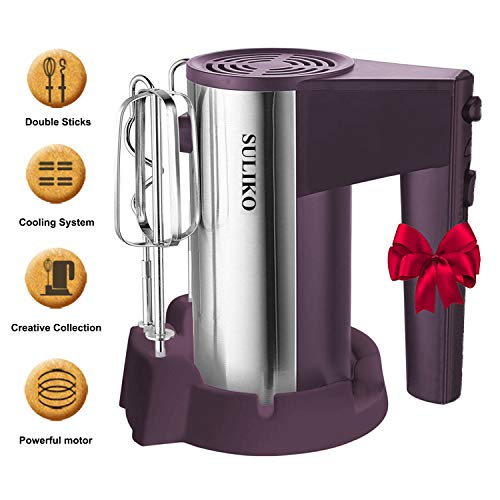 Electric Hand Mixer, Suliko Stainless Steel Mixer Electric 200W 5 Different Speed Settings and Turbo Button with Sturdy Beaters and Dough Hooks (Purple) ()