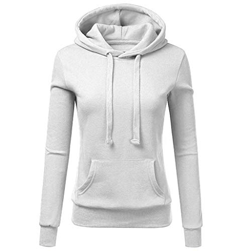 ANJUNIE Womens Casual Hoodies Colorblock Patchwork Sweatshirt Ladies Hooded Pullove(4-White,S)