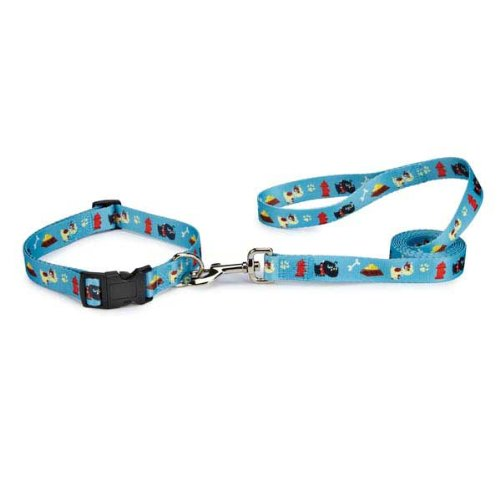 "Bundle Blue Casual Canine Tough Dog Collar & Blue Casual Canine Tough Dog 4' x 5/8"" Lead 2-Piece Set (18-26)"