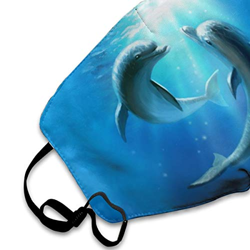 SGHGSAxbh Two Beautiful Dolphins Face Mask Dust Mask Anti Pollution Face Mask Washable Cotton Mouth Mask Men and Women for All Ages