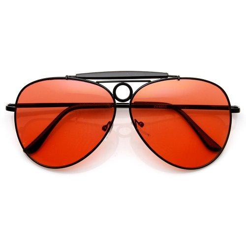 zeroUV - Large Oversized Metal Teardrop Crossbar Aviator Sunglasses (Black-Black - Teardrop Sunglasses