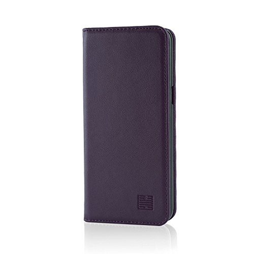 32nd Classic Series - Real Leather Book Wallet Case Cover for Samsung Galaxy S8 Plus, Real Leather Design with Card Slot, Magnetic Closure and Built in Stand - Aubergine